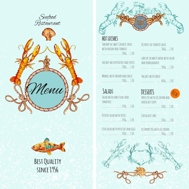 Seafood menu template Free Vector