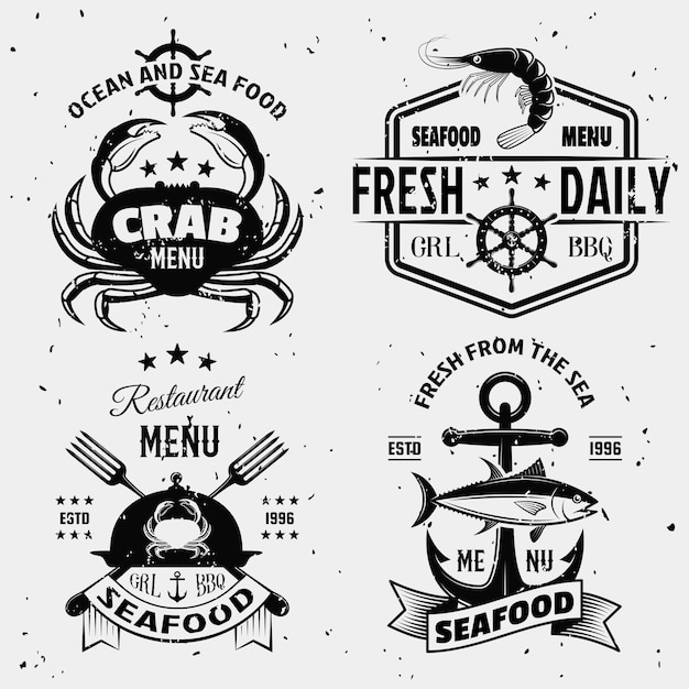 Seafood monochrome emblems with nautical symbols shellfish cloche with stains isolated Free Vector