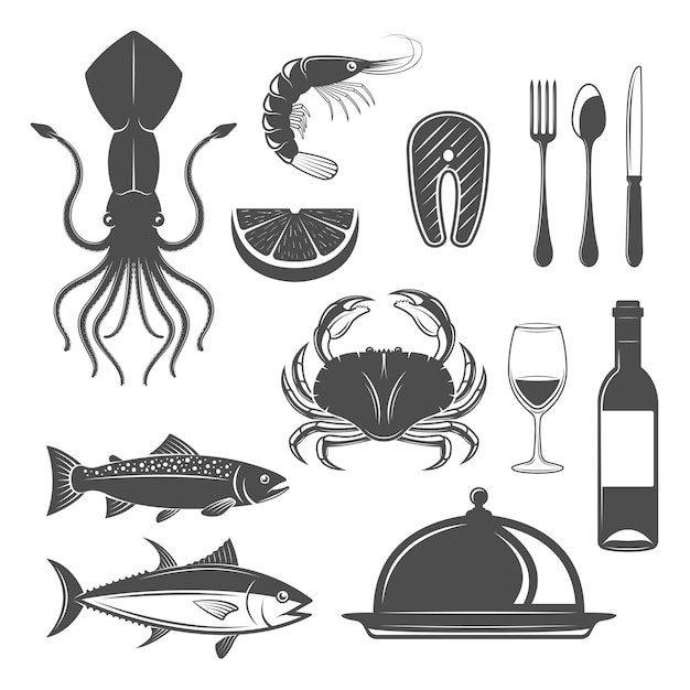 Seafood monochrome objects set with underwater animals wine bottle and goblet cutlery restaurant cloche isolated vector illustration Free Vector
