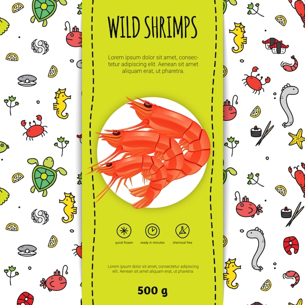 Seafood packaging for wild shrimps with plate Free Vector