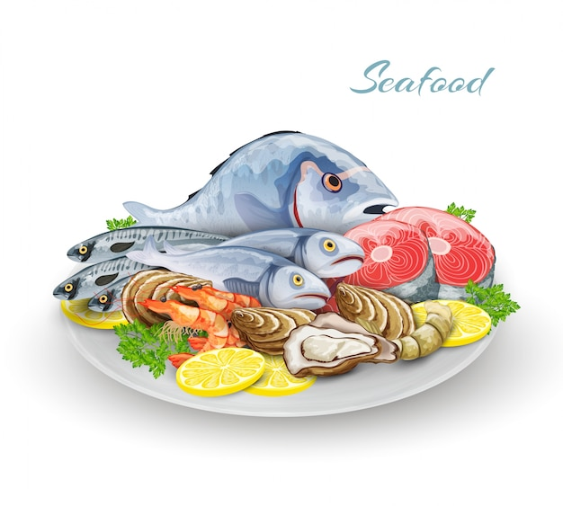 Seafood plate composition Free Vector