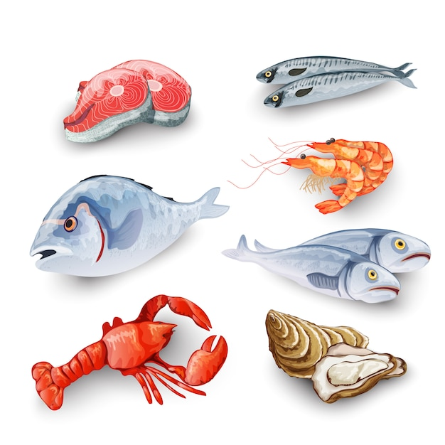 Seafood products set Free Vector