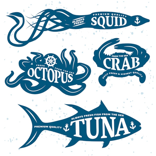 Морепродукты цитата набор помещен на синее море тела животных, изолированные и цветные Бесплатные векторы