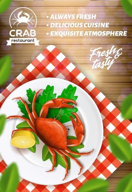 Реклама ресторана морепродуктов, крабовое меню Premium векторы