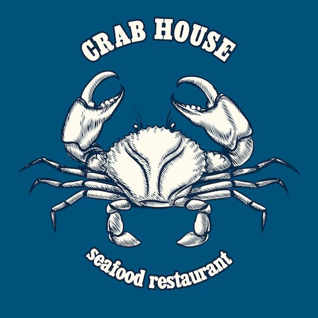 カニとシーフードレストランのロゴのテンプレート。 無料ベクター