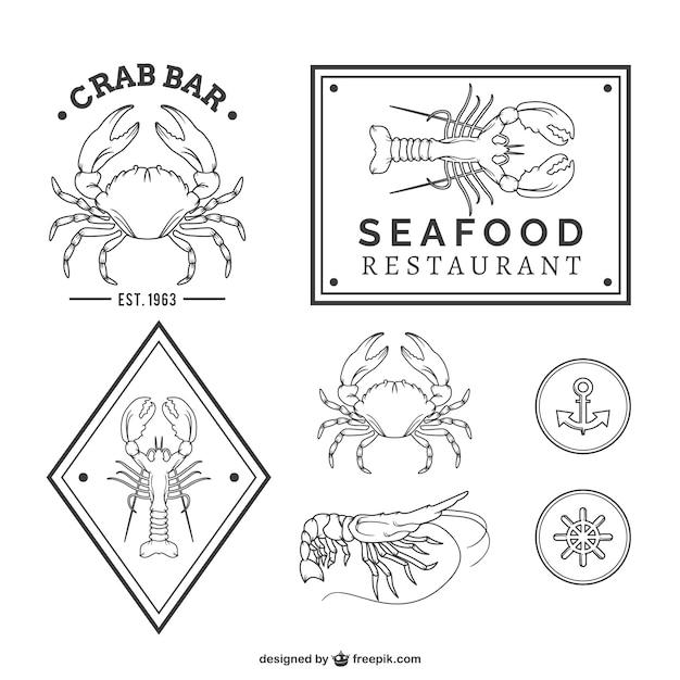 Seafood restaurant logos Free Vector