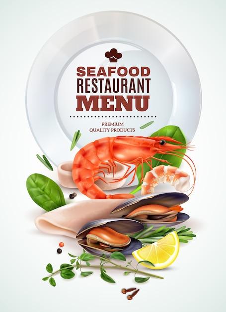 Меню ресторана морепродуктов реалистичный плакат с креветками, кальмарами, мидиями, свежей зеленью, специями, морским коктейлем, ингредиентами. Бесплатные векторы