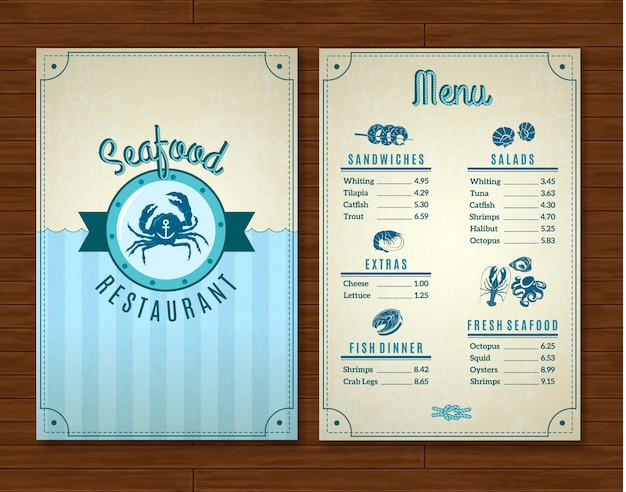 Seafood restaurant menu template with ocean symbols Free Vector