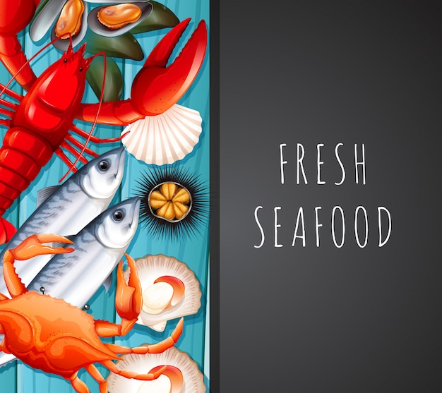 Seafood on restaurant template Free Vector