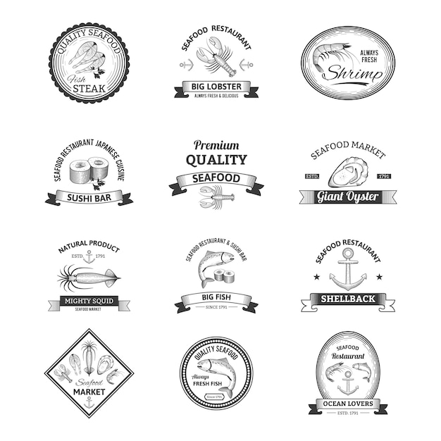 Seafood retro emblems Free Vector