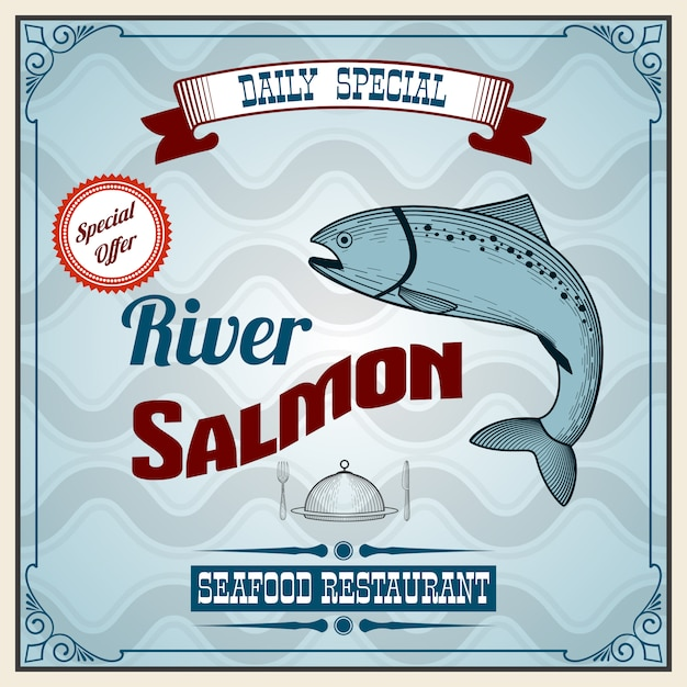 Seafood retro poster Free Vector