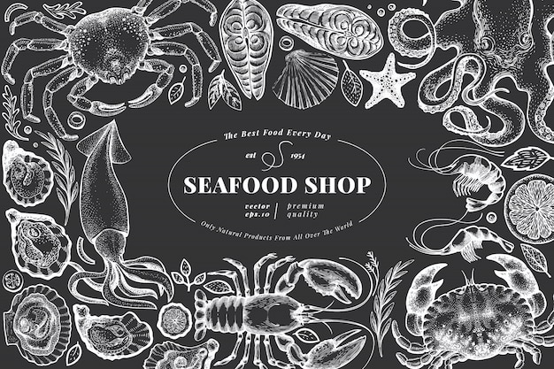 Seafood shop hand drawn banner template. Premium Vector