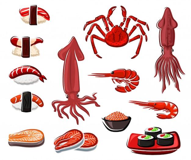 Суши и роллы из морепродуктов, японские морепродукты Premium векторы