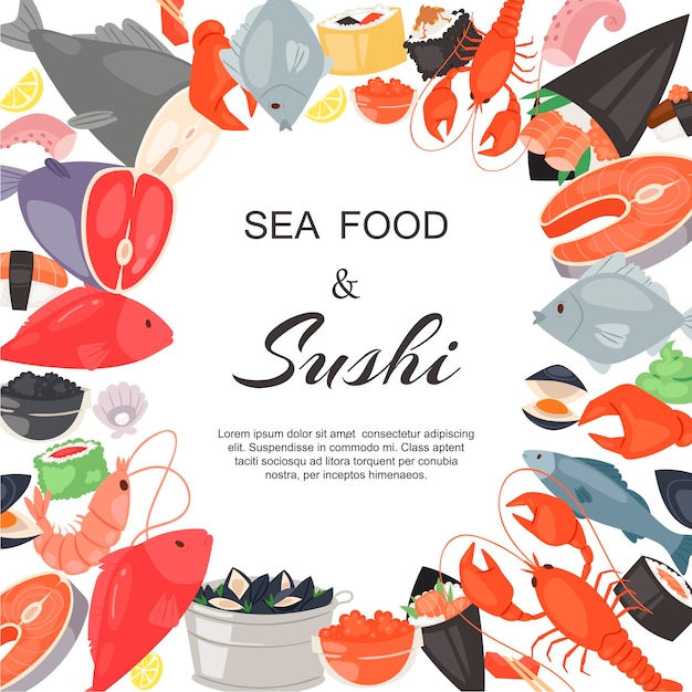 Seafood and sushi restaurant template Premium Vector