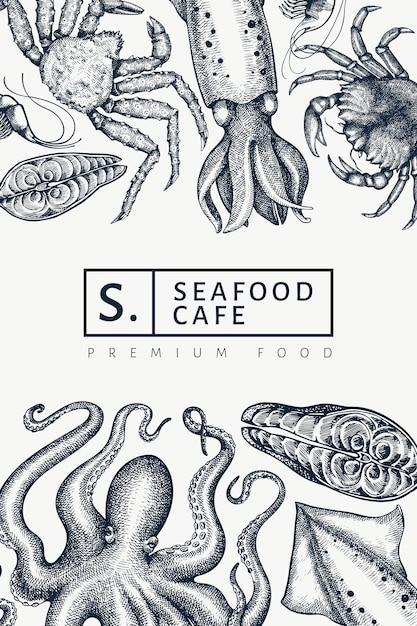Seafood  template. hand drawn  seafood illustration. engraved style food banner. retro sea animals background Premium Vector