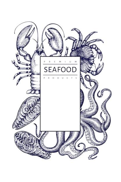 Шаблон морепродуктов. рисованной иллюстрации из морепродуктов. гравированный стиль еды баннер. ретро морских животных фон Premium векторы