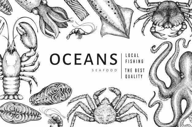 Шаблон морепродуктов. рисованной иллюстрации из морепродуктов. гравированный стиль еды баннер. фон старинных морских животных Premium векторы