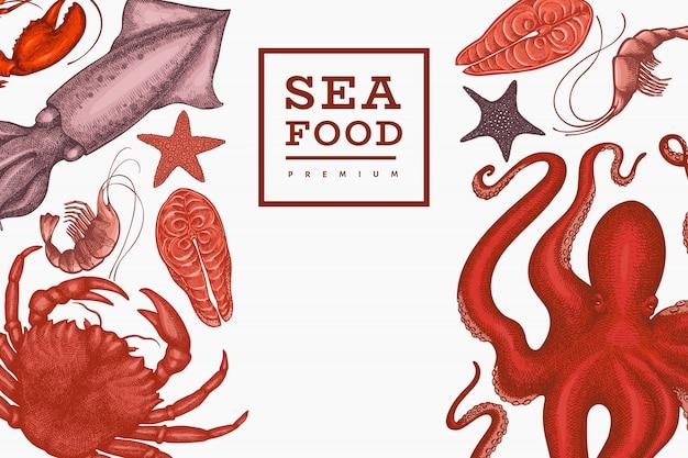 シーフードテンプレート。手描きのシーフードイラスト。刻まれたスタイルの食べ物。レトロな海の動物の背景 Premiumベクター