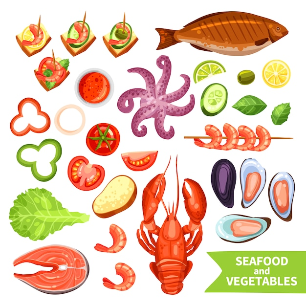 Seafood and vegetables icons set Free Vector