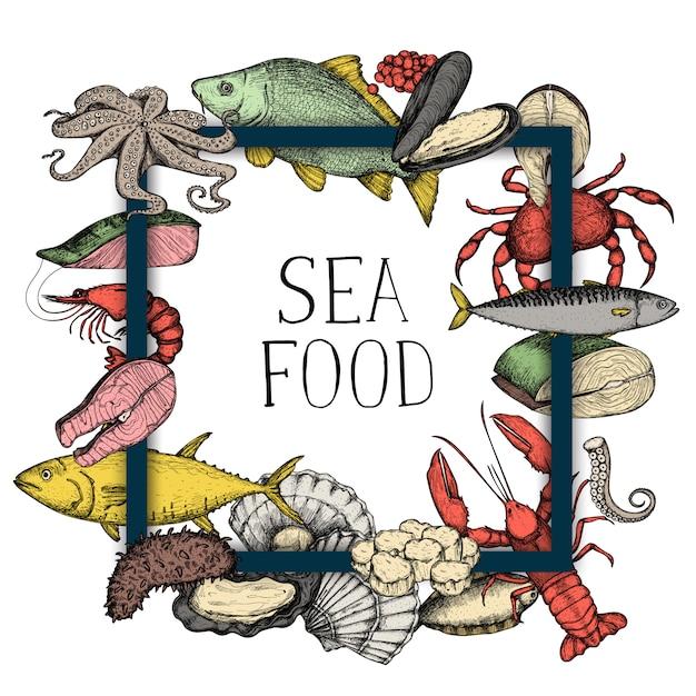 Seafood vintage hand drawn background Premium Vector