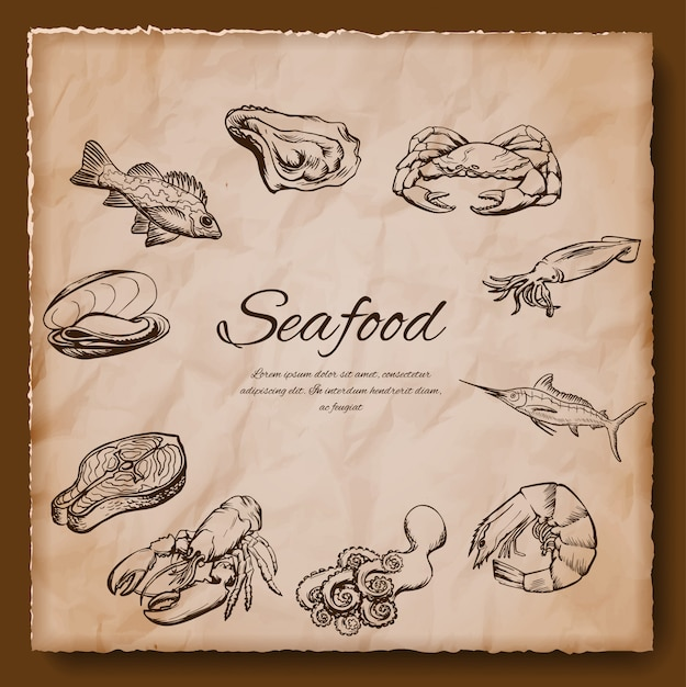 Seafood vintage illustration Premium Vector