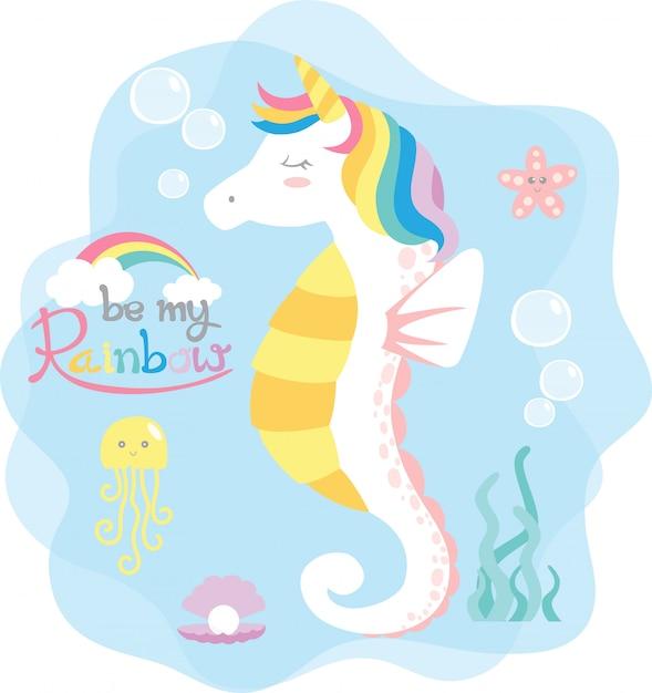 Seahorse rainbow Premium Vector
