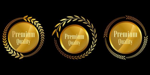 Seal gold badges and labels premium quality Premium Vector