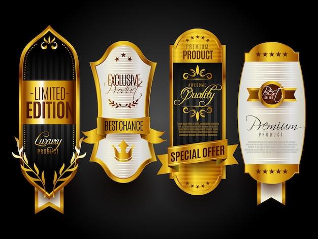 Sigillo di qualità premium distintivi d'oro Vettore gratuito