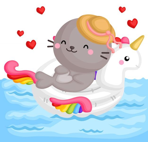 Seal on unicorn float Premium Vector