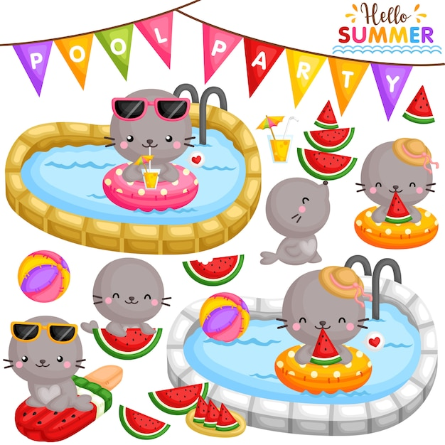 Seal watermelon party Premium Vector