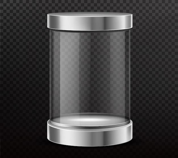 Герметичный, стеклянный цилиндр, капсула реалистичный вектор Бесплатные векторы