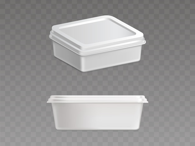 Sealed plastic container for food products vector Free Vector