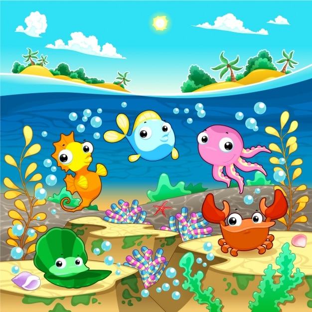 Sealife backgound desing Free Vector. Sealife backgound desing Vector   Free Download