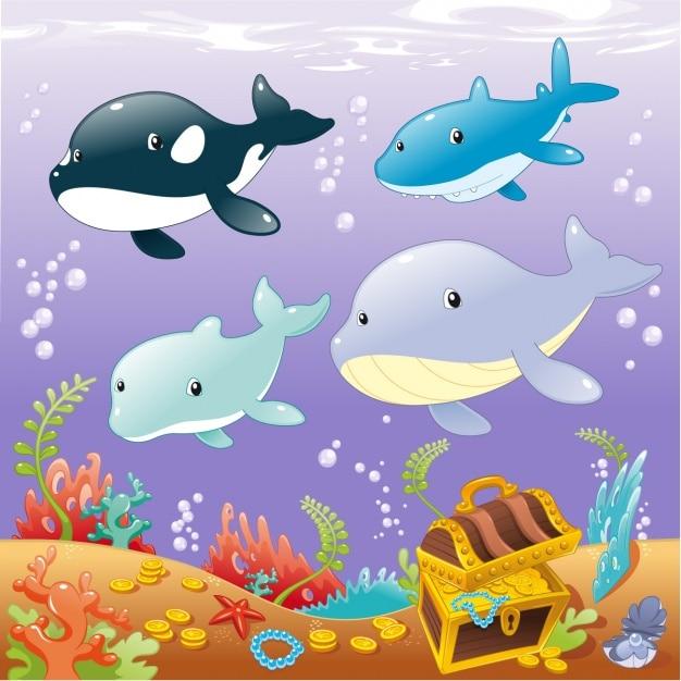 Sealife background design Free Vector