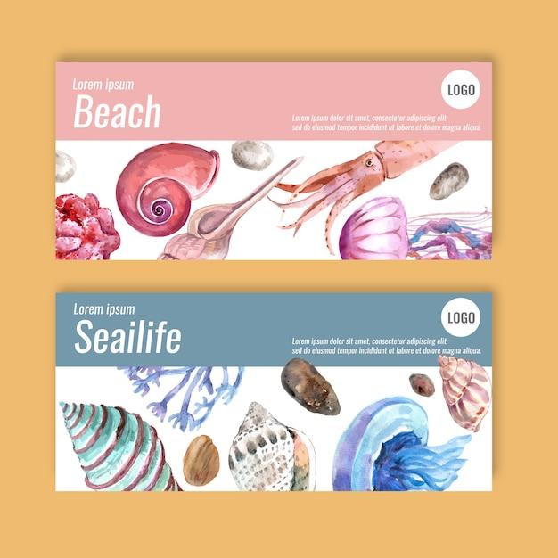 Баннер с концепцией sealife, пастельные тематические иллюстрации шаблон. Бесплатные векторы