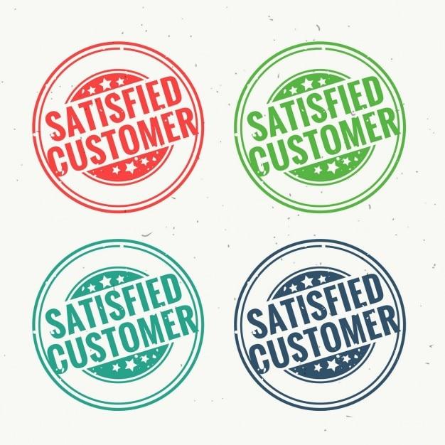 Удовлетворенный клиент резиновый штамп установлен в четырех различных цветах Бесплатные векторы