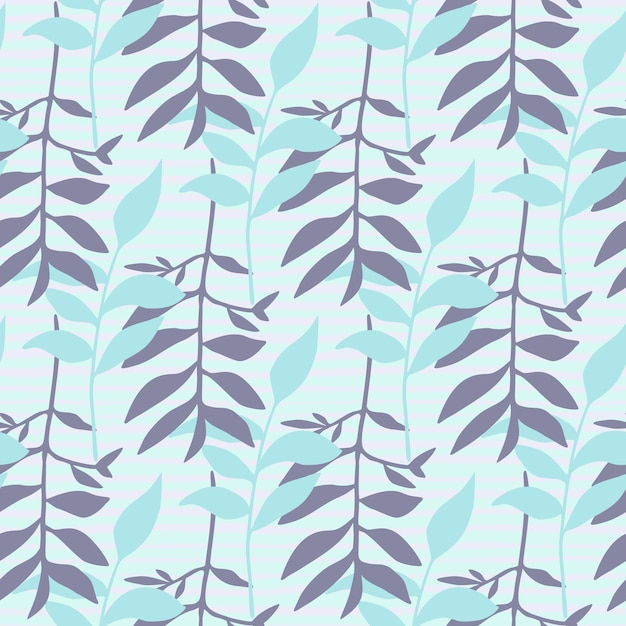 Seamles minimalistic floral pattern with foliage ornament. Premium Vector