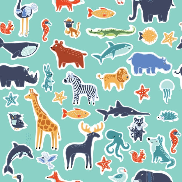 Seamles pattern of cute smiling wild animals. background of funny animlas personages Premium Vector