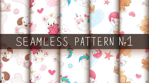 かわいい動物 -  seamlesパターンを設定します。 Premiumベクター