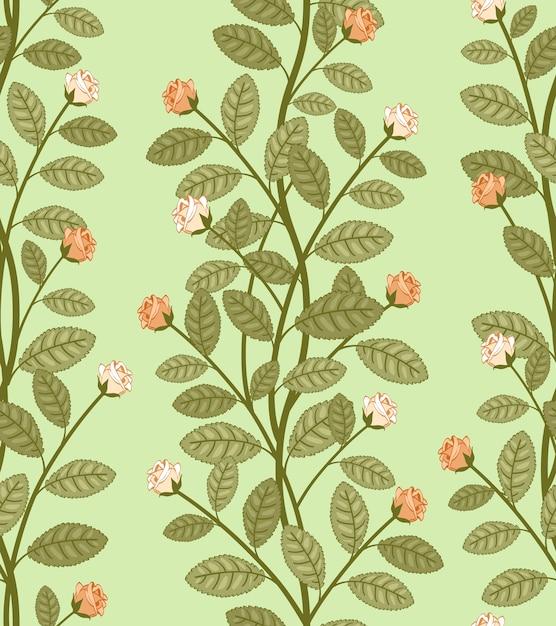 Motivo floreale astratto senza soluzione di continuità, rose vettoriali su sfondo verde Vettore gratuito