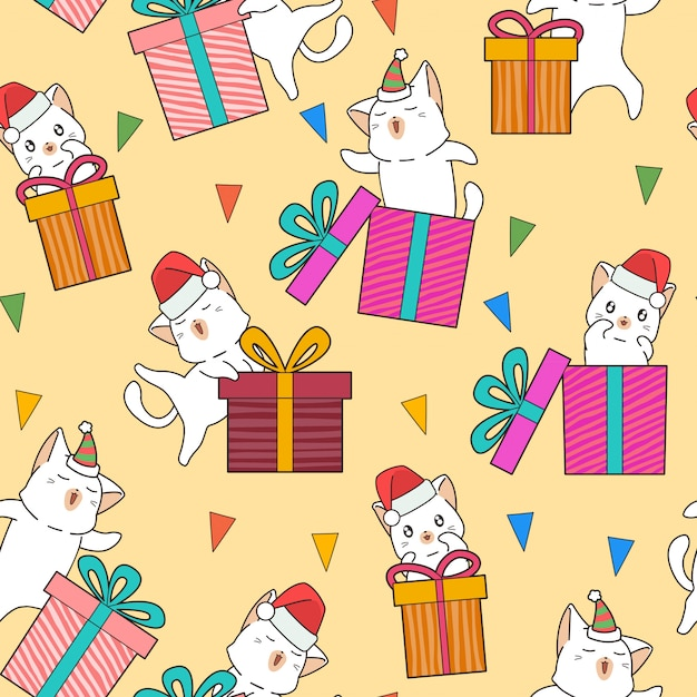 Seamless adorable cat characters and gift boxes in the party pattern Premium Vector