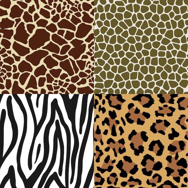 원활한 동물 인쇄 패턴 세트 무료 벡터