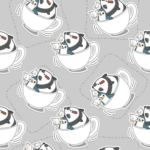 Seamless animals in coffee cup pattern. Premium Vector