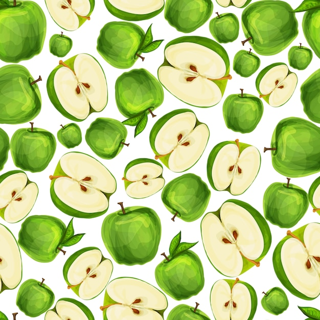 Seamless apple fruit sliced in half with seed and leaves pattern hand drawn sketch vector illustration Free Vector