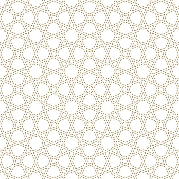 Seamless arabic geometric ornament in brown color.arabic style. Premium Vector