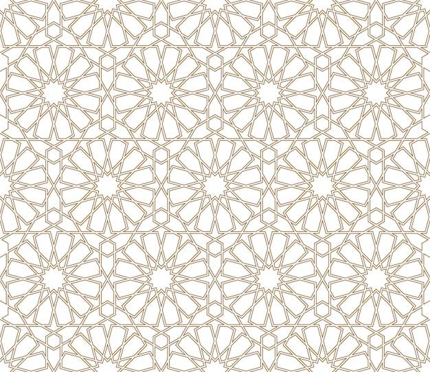Seamless arabic geometric ornament in brown color Premium Vector