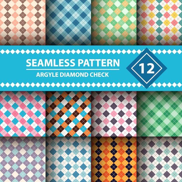 Seamless argyle plaid blue pattern Premium Vector