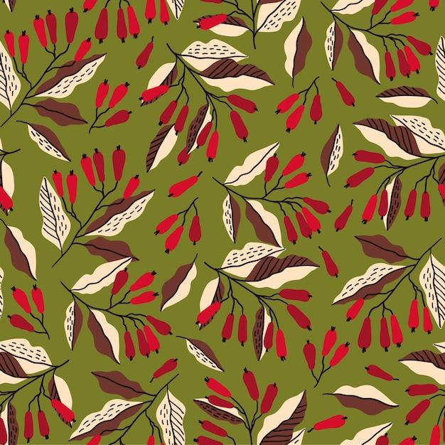 メギの枝とシームレスな秋のパターン。 Premiumベクター