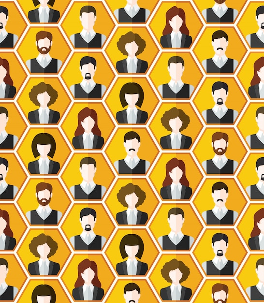Seamless avatar characters pattern background Free Vector