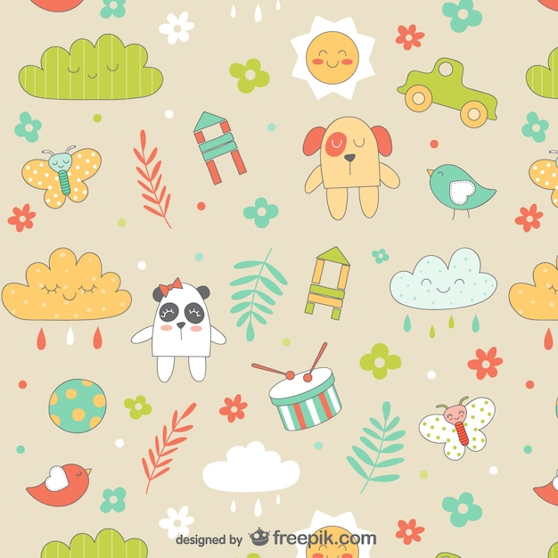 Seamless baby cartoons pattern Free Vector